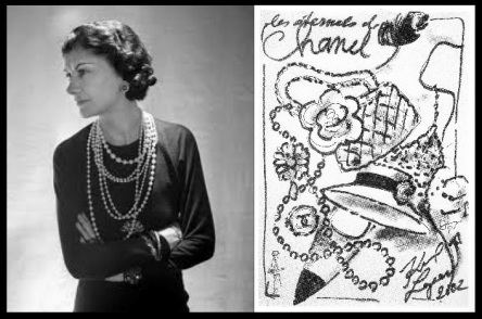 "Photo of Coco Chanel in multiple strands of pearls by Boris Lipnitzki, 1936 ""Les Eternels de Chanel"" (Eternal Icons), sketched by Karl Lagerfeld, 2002"